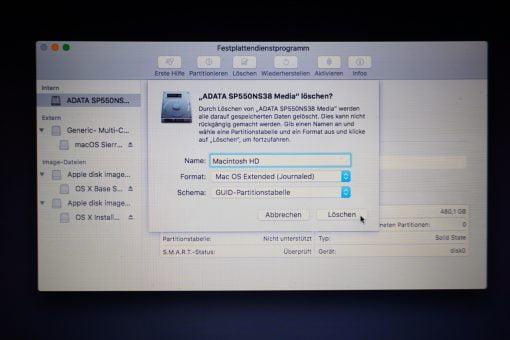 macOS Dienstprogramm SSD löschen