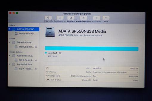 macOS Dienstprogramm SSD Details
