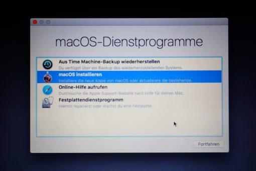 macOS Dienstprogramme macOS installieren