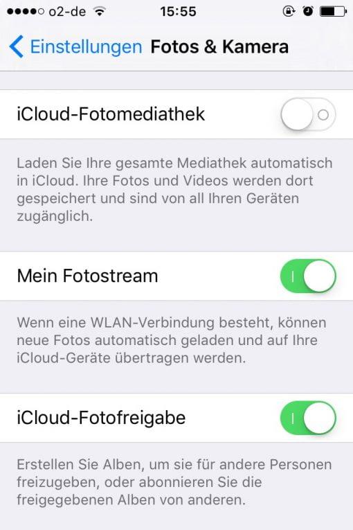 iOS iCloud Fotomediathek