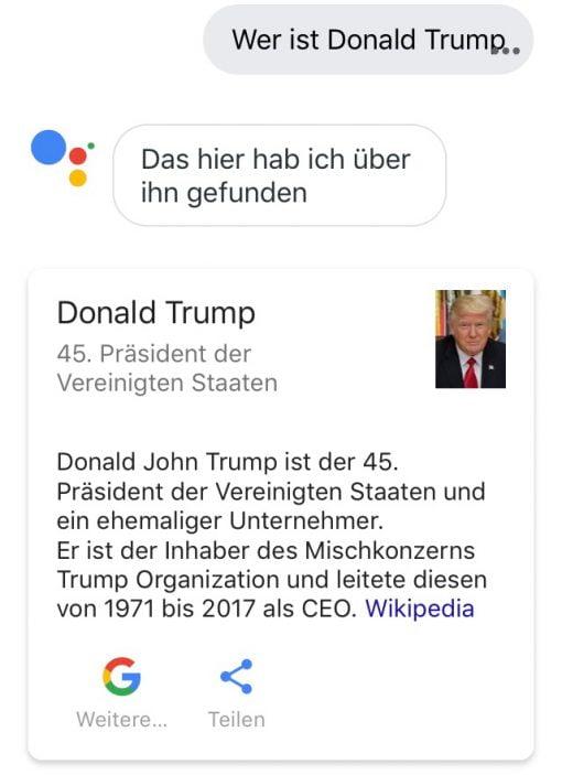 Google Assistant Donald Trump