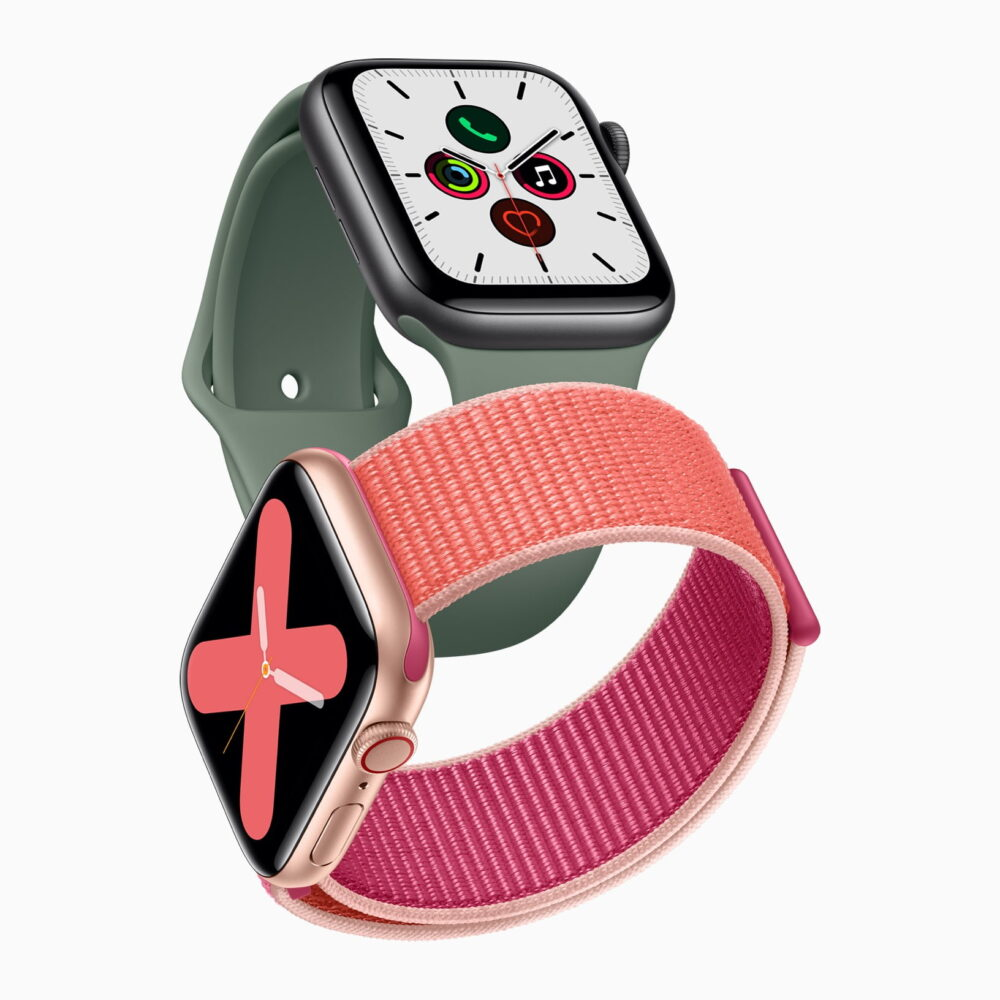 Apple watch series 5 gold aluminum case pomegranate band and space gray aluminum case pine green band