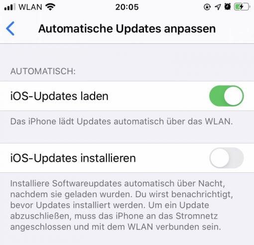iOS 13.6 Automatische Updates anpassen
