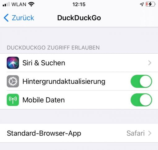 iOS 14 Standard Browser App DuckDuckGo