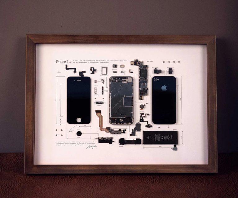 iPhone 4S Explosionsdarstellung als Kunstwerk