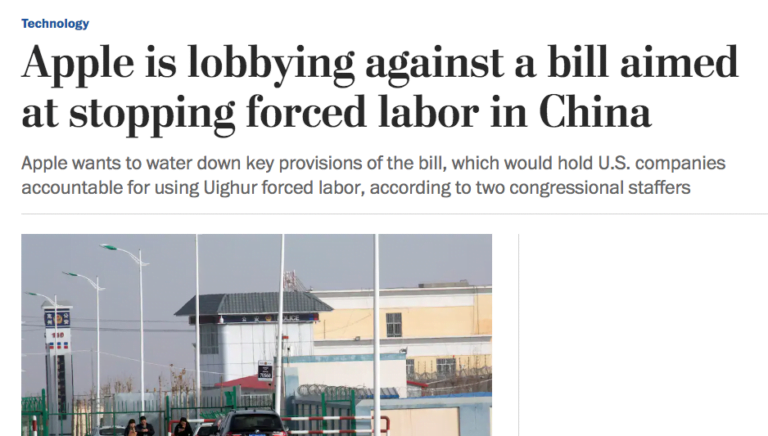 Washington Post: Apple gegen Gesetz, das Zwangsarbeit verhindern soll