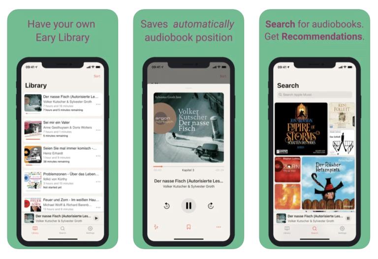 Hörbuch App Eary auch für Apple Music
