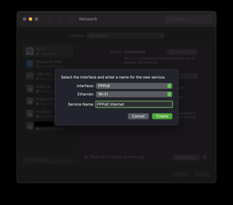 macOS PPPoE Verbindung erstellen