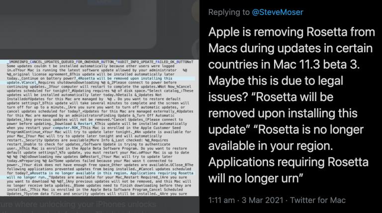 Entfernt Apple Rosetta 2 mit macOS 11.3?