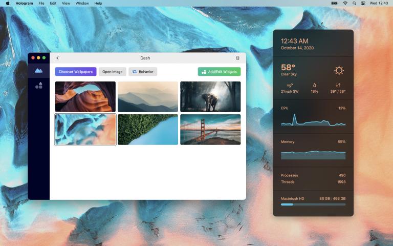 Hologram Desktop: Widgets und Hintergrundbilder für macOS