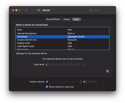 TB Display one device input