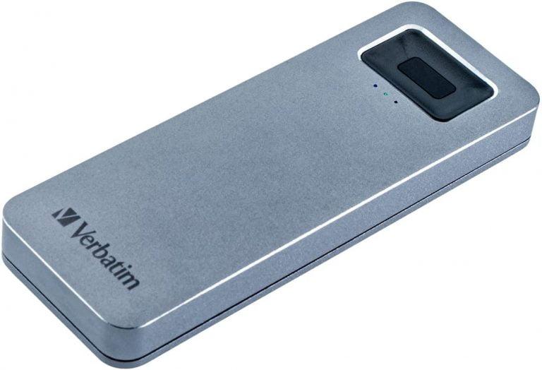 Verschlüsselt: Verbatim SSD/HDD mit Fingerabdrucksensor
