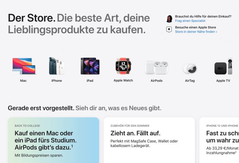 Der vollständige Apple Online Store ist wieder da