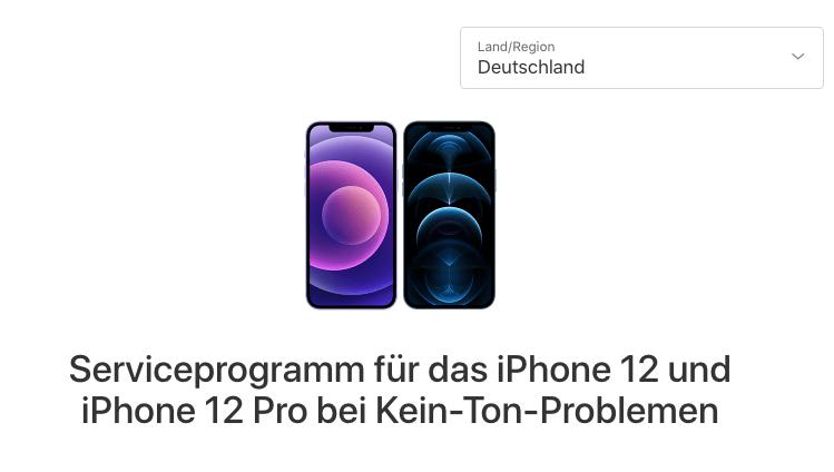 iPhone 12 Hörer defekt, kein Ton aus der Hörmuschel: Reparaturprogramm