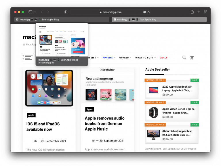 Safari 15 für macOS 11 verfügbar